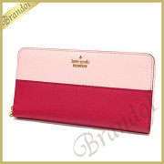 kate spade ケイトスペード ラウンドファスナー長財布 CAMERON STREET LACEY レザー ライトピンク×ピンク PWRU5073 656 PINK SUNSET MULTI