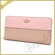 kate spade ケイトスペード ラウンドファスナー長財布 CAMERON STREET LACEY レザー ライトピンク×ベージュ PWRU5073 910 PINK SUNSET / TOASTED WHEAT